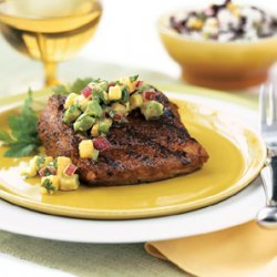 Grilled Mahi-Mahi with Avocado-Melon Salsa recipe