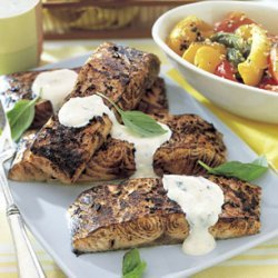Grilled Salmon Fillets with Creamy Horseradish Sauce recipe