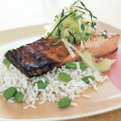 Miso-Marinated Salmon with Cucumber-Daikon Relish recipe