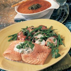 Poached Salmon Fillets with Watercress Mayonnaise recipe