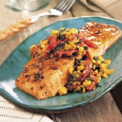 Roasted Salmon with Red Pepper and Corn Relish recipe