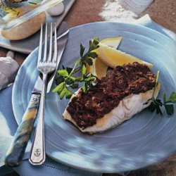 Sea Bass with Red Pepper and Olive Tapenade recipe
