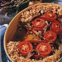 Red Bell Pepper and Eggplant Tian with Anchovies recipe