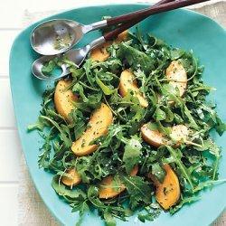 Arugula and Peach Salad with Creamy Chive Vinaigrette recipe