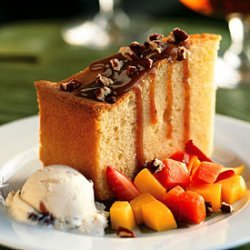 Rum Cake with Rum Raisin Ice Cream and Island Fruit recipe
