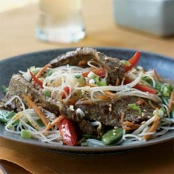 Rice Noodles with Sesame-Ginger Flank Steak recipe