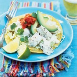 Halibut Tostadas with Yogurt-Lime Sauce recipe