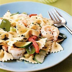 Farfalle with Shrimp, Snow Peas, and Ginger-Sesame Dressing recipe