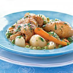 Braised Chicken with Baby Vegetables and Peas recipe