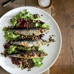 Grilled Sardines with Beluga Lentils recipe