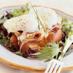 Prosciutto and Poached Egg Sandwiches with Mustard-Wine Sauce recipe