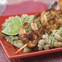 Chili-and-Lime Grilled Shrimp With Seasoned White Beans and Rice recipe