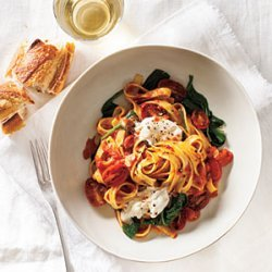 Fettuccine with Seared Tomatoes, Spinach, and Burrata recipe