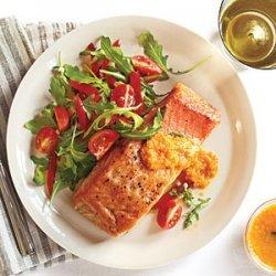 Crispy Salmon and Arugula Salad with Carrot-Ginger Vinaigrette recipe