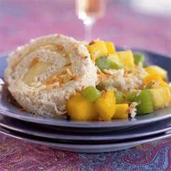 Five-Spice Toasted-Coconut Cake Roll with Tropical Fruit Compote recipe