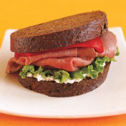 Roast Beef Pumpernickel Sandwich with Roasted Red Pepper, Arugula and Goat Cheese recipe