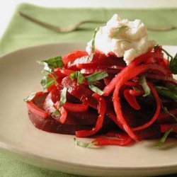 Beet and Red Onion Salad with Ricotta-Provolone Topping recipe