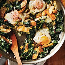 Fingerling Potato-Leek Hash with Swiss Chard and Eggs recipe