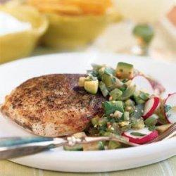 Seared Chicken with Tomatillo-Avocado Salsa recipe