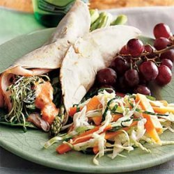 Asparagus-Turkey Wraps with Roasted-Pepper Mayonnaise recipe