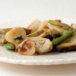 Artichoke, Chanterelle, and Cipollini Saute recipe
