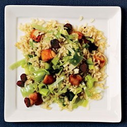 Chicken Fried Rice with Leeks and Dried Cranberries recipe