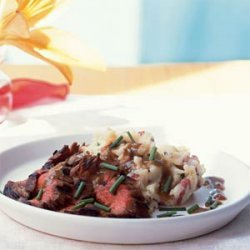 Bourbon and Brown Sugar Flank Steak with Garlic-Chive Mashed Potatoes recipe