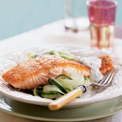 Salmon with Cucumber Salad and Dill Sauce recipe