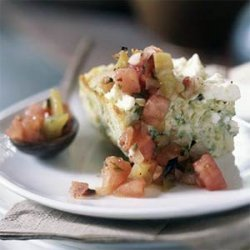 Baked Omelet with Zucchini, Leeks, Feta, and Herbs recipe