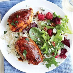 Spiced Chicken Thighs with Garlicky Rice recipe