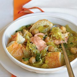 Chickpea, Bread, and Leek Soup with Harissa and Yogurt recipe