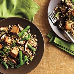 Toasted Barley, Green Bean, and Shiitake Salad with Tofu recipe