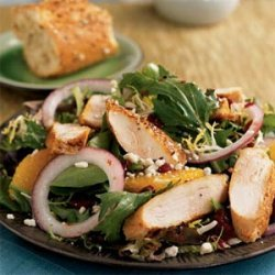 Spiced Chicken and Greens with Pomegranate Dressing recipe