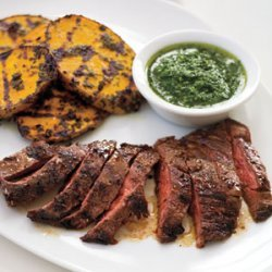 Grilled Skirt Steak and Potatoes with Herb Sauce recipe