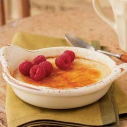 Honey Crème Brûlee with Raspberries recipe