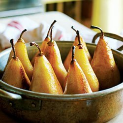 Caramelized Pears with Toasted Hazelnuts and Chocolate Sorbet recipe