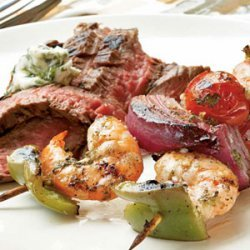 Ginger-Lime Marinated Shrimp Kebabs with Grilled Flank Steak and Cilantro Butter recipe