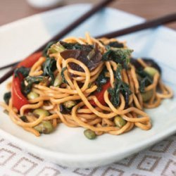 Vegetable Lo Mein with Edamame and Mustard Greens recipe