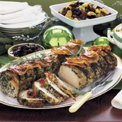 Pancetta- and Herb-Roasted Pork with Fig Jam recipe