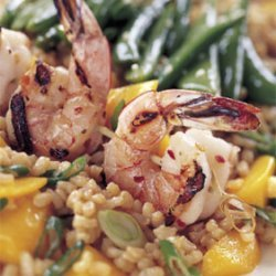 Spicy Grilled Shrimp with Rice and Mango Salad and Sesame Sugar Snap Peas recipe