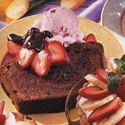 Chocolate Pound Cake with Strawberry Ice Cream and Bittersweet Chocolate Sauce recipe