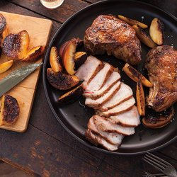 Grilled Pork Chops with Peaches and Pole Beans recipe