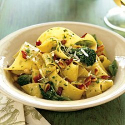 Pappardelle with Pancetta, Broccoli Rabe, and Pine Nuts recipe