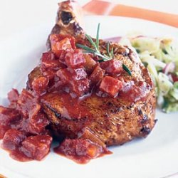 Grilled Pork Chops with Chunky Andouille Barbecue Sauce recipe