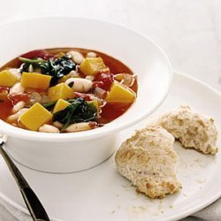 Squash and White Bean Soup with Parmesan Biscuits recipe