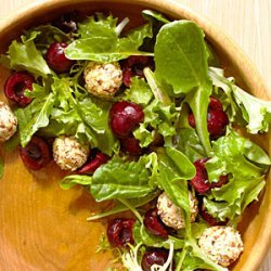 Mixed Greens with Cherries and Feta Cheese Balls recipe