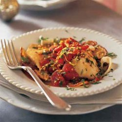 Baked Fish with Roasted Potatoes, Tomatoes, and Salmoriglio Sauce recipe
