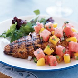 Marinated Grilled Chicken Breast with Watermelon-Jalapeno Salsa recipe