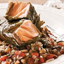 Grilled Salmon in Grape Leaves with Tomato-Raisin Relish recipe