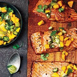 Cedar Plank-Grilled Salmon with Mango Kiwi Salsa recipe